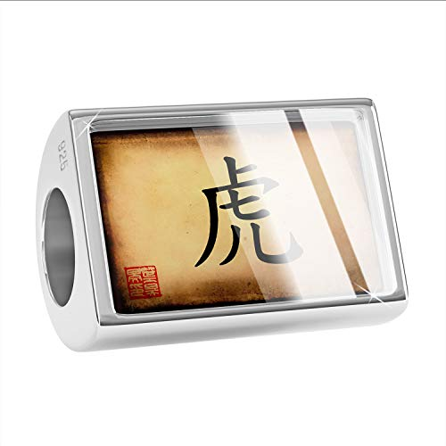 NEONBLOND Charm Chinese Characters, Letter Tiger 925 Sterling Silver Bead