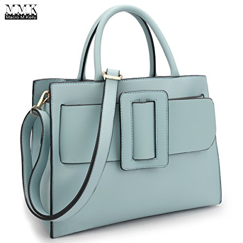 MMK Collection Women Medium Roomy Size Decorative Large Buckle Design (7376) Snap Clip Closure Top Handle Handbag with Shoulder Strap Satchel (Light Blue) by Marco M. Kelly