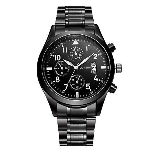 Steel Stainless Buckle Dial (Lomsarsh Men's Precise Quartz Wrist Watches - Fashion Business Stainless Steel Watchband and Dial - Absolute Wristwatches for Men)