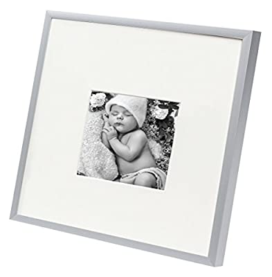 Golden State Art, Metal Wall Photo Frame Collection, Aluminum Silver Photo Frame with Real Glass