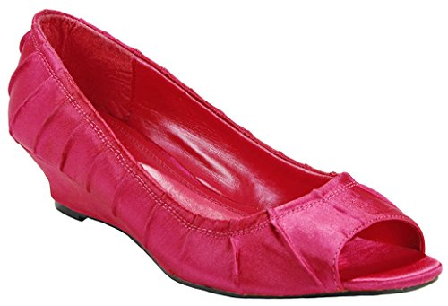 (J.J.F Shoes Women Magenta Pleated Vamp Satin Peep Toe Comfort Mid Wedge Heel Formal Dress Pumps-8)