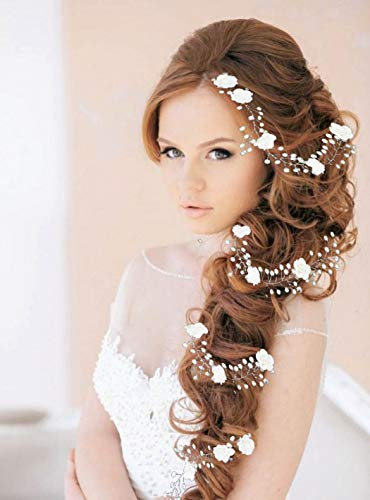 Yean Flower Bride Wedding Hair Vine Silver Bridal Headband Hair Accessories for Women and Girls (Silver)
