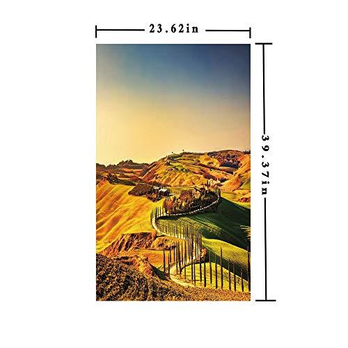 - No Glue Static Cling Window Film decorate by Tuscany Crete Senesi Rural Landscape Cypress Trees Country Farmland Europe Decorative,W15.7xL63in,Privacy Decorative Glass Film with Marigold Green Blue
