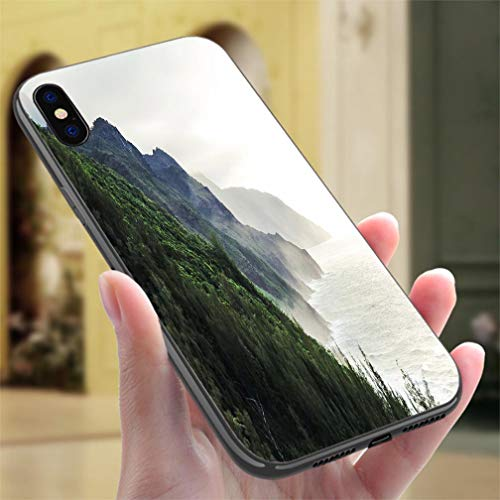 (Creative iPhone Case for iPhone 7/8P Kalalau Trail at Kauai Hawaii in Foggy Day Resistance to Falling, Non-Slip,Soft,Convenient Protective Case)