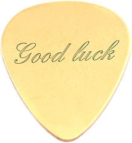 Grabado Good luck 18 K chapado en oro Púas para guitarra/de púas ...