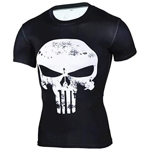Mens Short Sleeve Dri-fit Punisher Compression Shirt Cosplay Costume 4XL