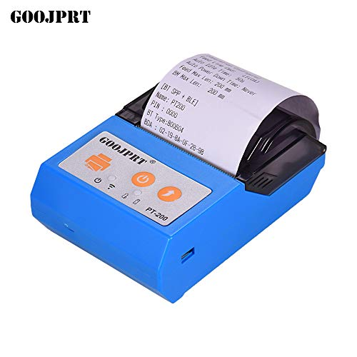 Aibecy GOOJPRT PT200 Portable Wireless BT 58mm Receipt Thermal Printer Mini Personal Bill Printer Compatible with ESC/POS Print Commands Set for iOS Android Windows for Restaurant Supermarket Retail