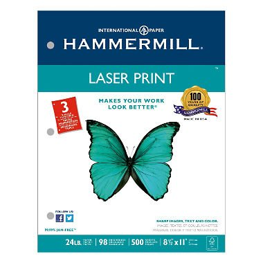- Laser Print Office Paper, 3-Hole Punch, 98 Brightness, 24lb, Ltr, White, 500/Rm, Sold as 2 Ream