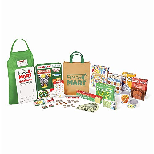 - Melissa & Doug Fresh Mart Grocery Store Companion Collection, Play Sets & Kitchens, Multiple Role Play Items, Helps Develop Social Skills, 10