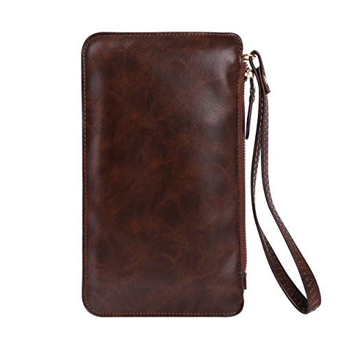 Zipper Wallet Clutch Universal Crossbody Handbag Touch Screen Brown Bag x1RqSa1w