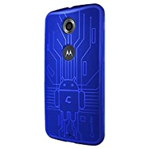 Nexus 6 Case, Cruzerlite Bugdroid Circuit TPU Case Compatible for Google Nexus 6 / Motorola Nexus 6 (2014 Release) - Blue