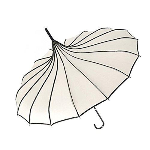 Hofumix Parasol Umbrella Pagoda Umbrella Sun Umbrella UV Protector Retro Umbrella with Hook Handle (Beige)