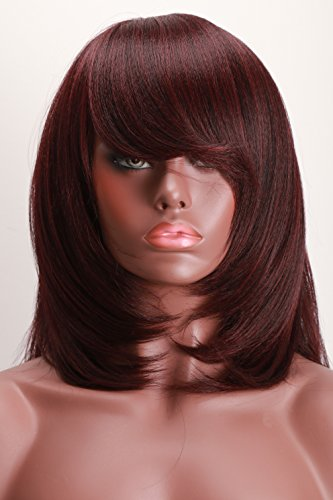 [Synthetic Wigs For Black Women Yaki Straight Bob Style 99J Color] (Milano Anime Costumes)