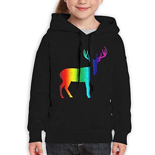 Rainbow Deer Silhouette Youth Hoody Print Long Sleeve Sweatshirts Girl's by Qiop Nee