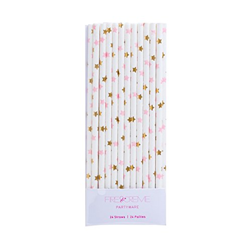 Fire and Creme Stars Foiled Party Paper Straws Gold Pink White - Pack of 24 (Paper Creme)