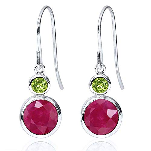 (Gem Stone King 2.34 Ct Round Red Ruby Green Peridot 925 Sterling Silver Earrings)