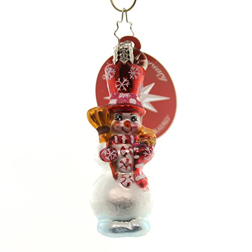 (Christopher Radko PEPPERMINT PALS GEM Blown Glass Ornament Snowman)