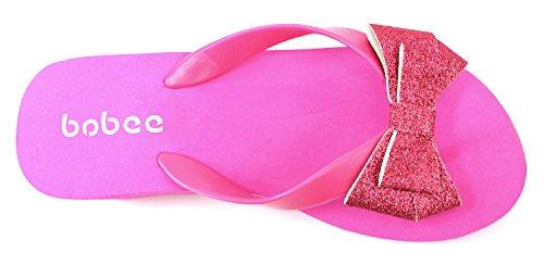 Bobee Womens Pamela 78 Platform Flip Flop Gekleurde Strik Sandalen Strand Fuchsia