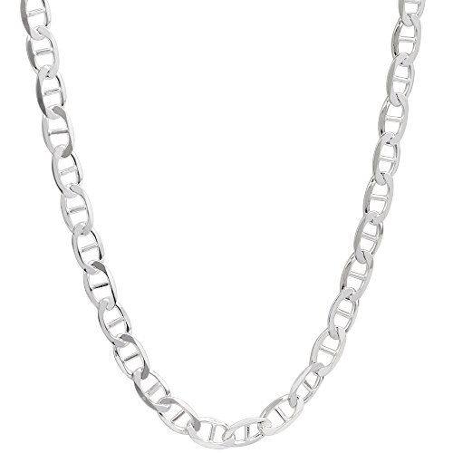 4.1mm Mens Solid .925 Sterling Silver Mariner Link Anchor Chain Necklace, 22 Inch