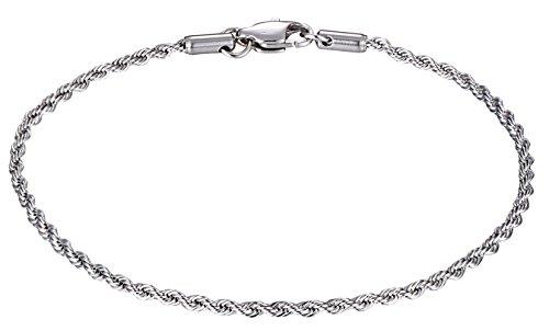 Stainlees Steel Rope Chain Anklet By Regetta (Stainless Steel Graduate)