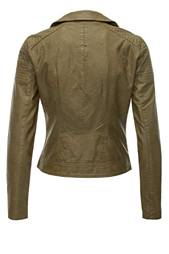 ONLY OTW Women's Cc Jacket Leather Onlsteady Faux Olive Biker Military rqrBpSFx