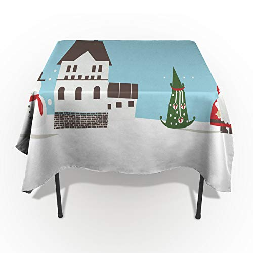 Rectangle Polyester Tablecloth, Simple Snowman Santa Tree House Tablecloths Machine Washable Table Cover Decorative Table Cloth Kitchen Dinning Banquet Parties 60 x 120 Inch ()