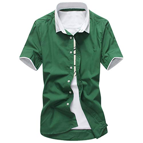 iCJJL Men's Essential Business Dress Shirts Slim Fit Summer Casual Short Sleeves Basic Button Down Shirt Fashion T-Shirt -