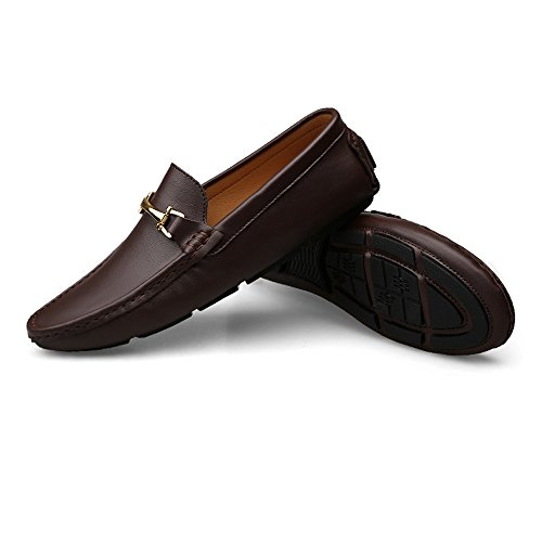 Color Dimensione Meimei in uomo rotonda Mocassini EU per guida gomma punta 40 Marrone da shoes leggeri con Mocassini Scuro leggeri Marrone rgzwqBra6