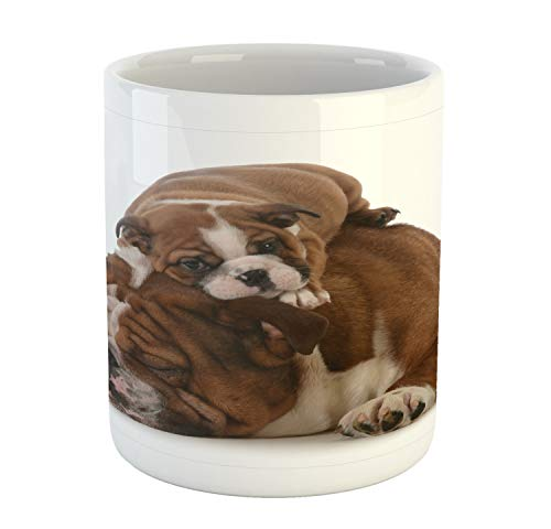 Ambesonne English Bulldog Mug, Father and Son Bulldogs Fathers Day Photograph Domestic Pet Animals, Printed Ceramic Coffee Mug Water Tea Drinks Cup, Brown White Black (Bulldogs Day Game Ceramic)