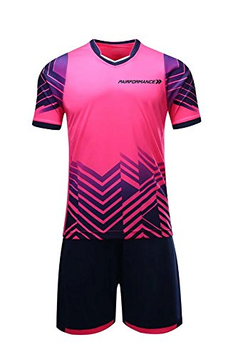 Soccer Jerseys Kids Boys Girls Shorts T-Shirts Sports Wear Set (Medium, Pink)