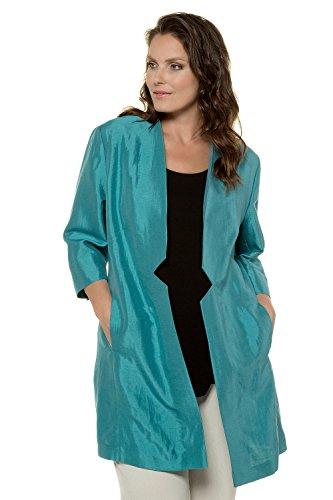 Ulla Popken Women's Plus Size Open Front Long Blazer Turquoise 26 715977 (Shantung Blazer)