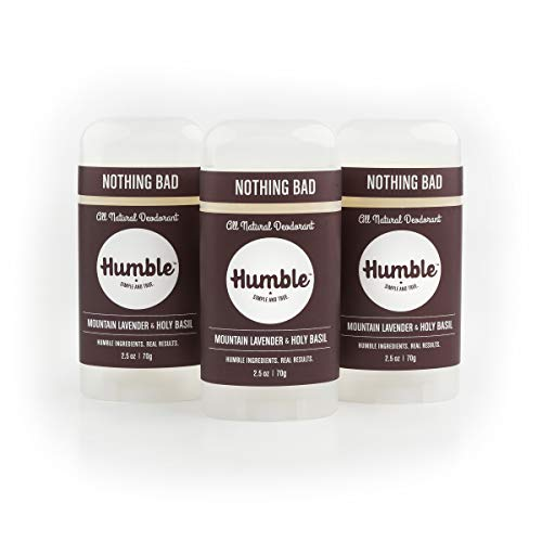 Humble All Natural Deodorant, Aluminum and Paraben Free, Cruelty Free Men s and Women s Deodorant, Essential Lavender and Holy Basil, 3-Pack