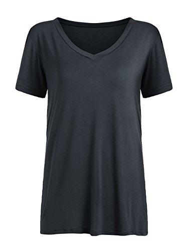 Floerns Women's V Neck Short Sleeve Casual T-shirt Small Dark Grey