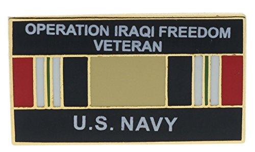 Navy Operation Iraqi Freedom Ribbon 1 inch hat lapel pin Hon14549D166 - Iraqi Freedom Veteran Hat Pins