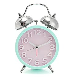 TAPCET Metal Silent Alarm Clock/Loud Twin Bell Alarm Clock Bedside and Desk Clock with Nightlight Green