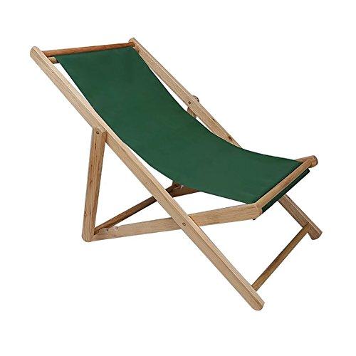 SYF Chair Garden Folding Chair Neck Pillow Folding Beach Chair Wooden Deck Chair Outdoor Canvas Folding Chair Recliner Office Load 140kg A+ (Color : Green)