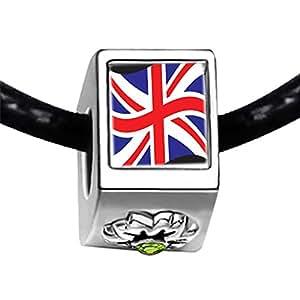 Chicforest Silver Plated United Kingdom Flag Photo Peridot Crystal August Birthstone Flower Charm Beads Fits Pandora Bracelets