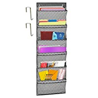 "Godery Sustainable Office Storage Pocket, Cascading Wall File Organizer, 6 Pockets, Letter Size, File Folder Holders for Classroom, Office, School and Home, 45""H x 13""W - Grey"