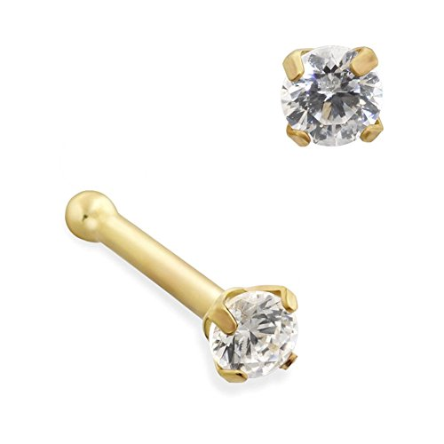 MsPiercing 14K Gold Nose Bone With Round CZ, Gauge: 18 (1.0Mm), 14K Yellow Gold, Standard - 2Mm (Gold 14k Bone Nose Yellow)