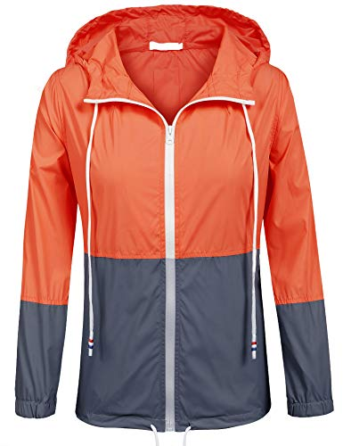 - SoTeer Women's Waterproof Raincoat Outdoor Hooded Rain Jacket Windbreaker (Orange/Navy M)