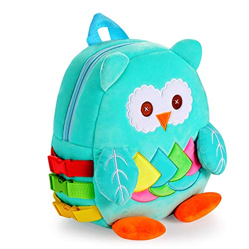 Crinkle Buckle - Owl Toddler Backpack with Buckles & Crinkle Paper and Squeakers, Early Learning Toy for Developing Basic Life Skills, Kids Plush Bookbag Children's Travel Bag, Ideal Gift for 1-5 Years Baby Boys Girls