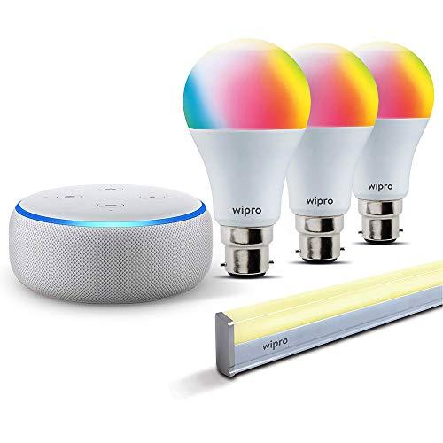 Smart lighting bundle: 1 Echo Dot (White) + 3 Wipro 9W color bulb (Pin type socket) + 1 Wipro smart batten/tubelight