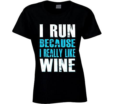 South Beach Women's I Run Because I Really Like Wine T-Shirt Blue MD Black - South Beach Wine