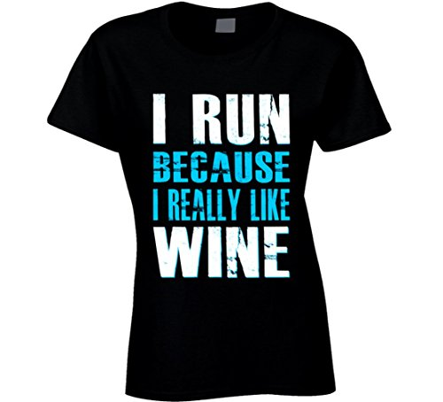 South Beach Women's I Run Because I Really Like Wine T-Shirt Blue 2XL Black (South Wine Beach)