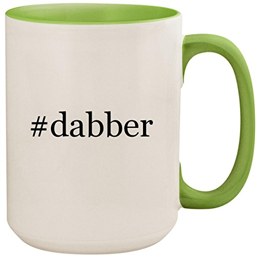 #dabber - 15oz Ceramic Colored Inside and Handle Coffee Mug Cup, Light Green ()