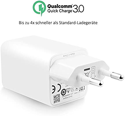 Quick Charge 3.0, macker Top 24 W USB Cargador rápido 3.0 para Samsung Galaxy S8/S7/S6/Edge/Nota 8/Nota 5/HTC/Iphone/Google/LG/Asus/Sony/HTC y más ...