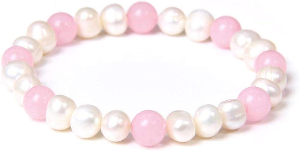 LAYYYQX Piedra Natural Cristal de Rosa Perlas Blancas de Agua Dulce Pulsera Cuentas Redondas Brazaletes de Cuarzo Rosa para Mujeres Niñas Amantes Regalos de joyería