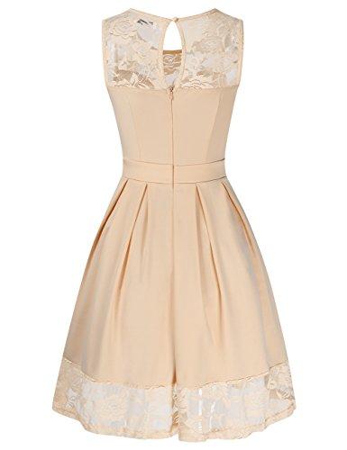 Spitzenkleid KOJOOIN Kleid Ärmellos Knielang Langarm Elegant Rockabilly Cocktailkleid Damen Kleider Beige xPqZtwp