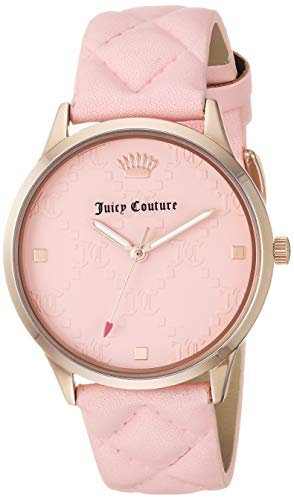 Juicy Couture Black Label Women's JC/1080RGPK Rose Gold-Tone and Pink Quilted Leather Strap ()