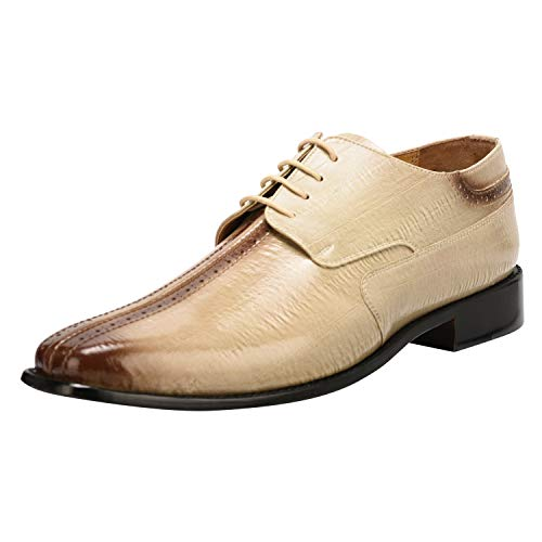 Liberty Men's PU Leather with Burnished Split Toe EEL Print Lace up Oxford Dress Shoes - Split Toe Oxfords